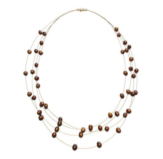 Amanda Blu Illusion Pearl Necklace on Gold Wire - Espresso