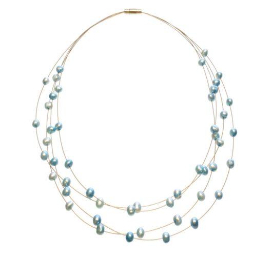 Amanda Blu Illusion Pearl Necklace on Gold Wire - Sea Breeze