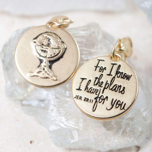 "Gold 1-Tone Medallion - Globe ""Be Brave"""