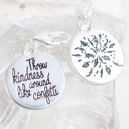 """Silver 1-Tone Medallion - Confetti """"Be Kind"""""""