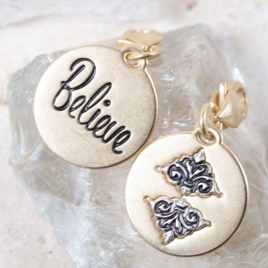 "Gold 2-Tone Medallion - Damask ""Believe"""