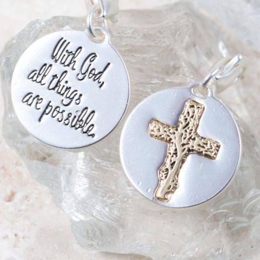 "Silver 2-Tone Medallion - Cross ""Transformation"""