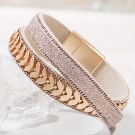 Leather Cuff Bracelet - Rosegold