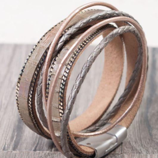 Leather Wrap Bracelet - Olive