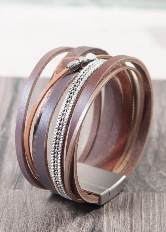 Leather Cuff Bracelet - Coffee