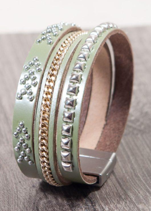 Leather Cuff Bracelet - Olive