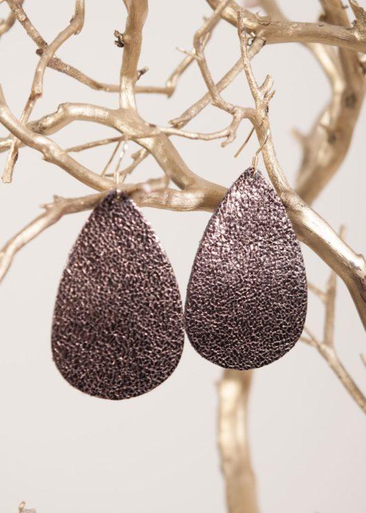 Leather Teardrop Earring - Bronze