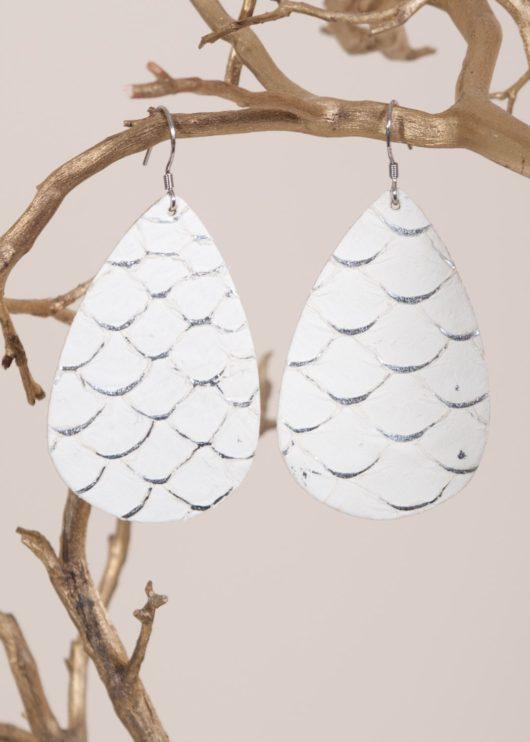 Leather Teardrop Earring - Ivory