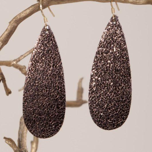 Thin Leather Teardrop Earring - Bronze