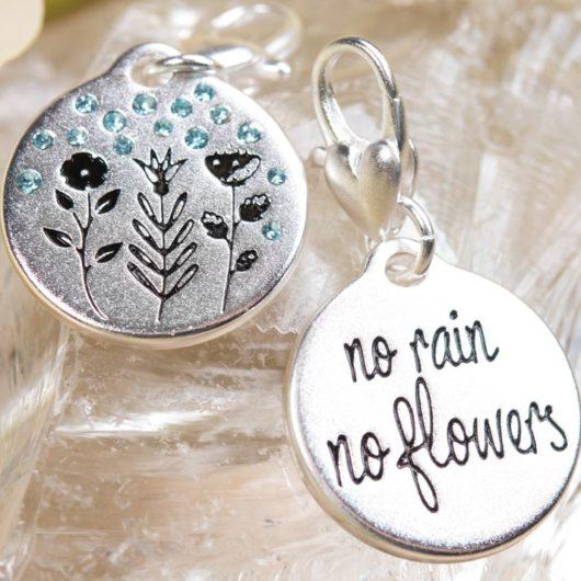 Silver 1-Tone Medallion - Rainy Flowers, Positivity