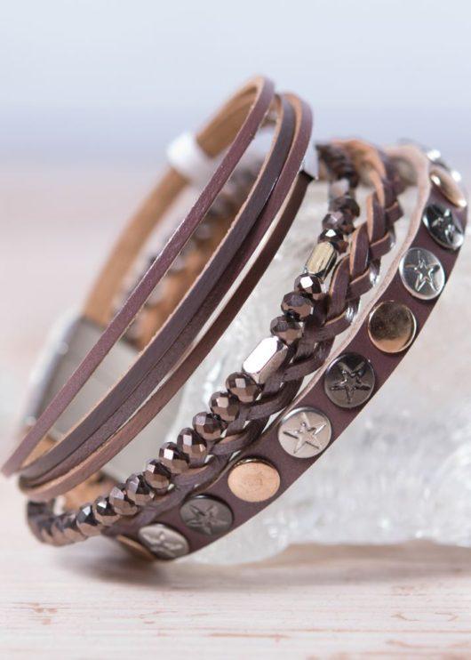 Leather Wrap Bracelet - Brown Star Stud
