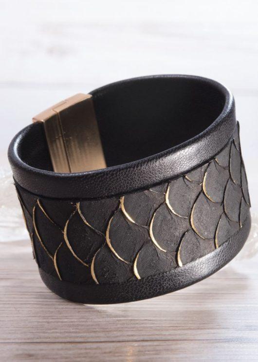 Leather Cuff Bracelet - Wide Black Scale