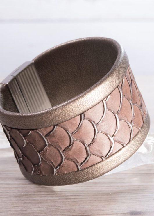 Leather Cuff Bracelet - Wide Bronze Scale