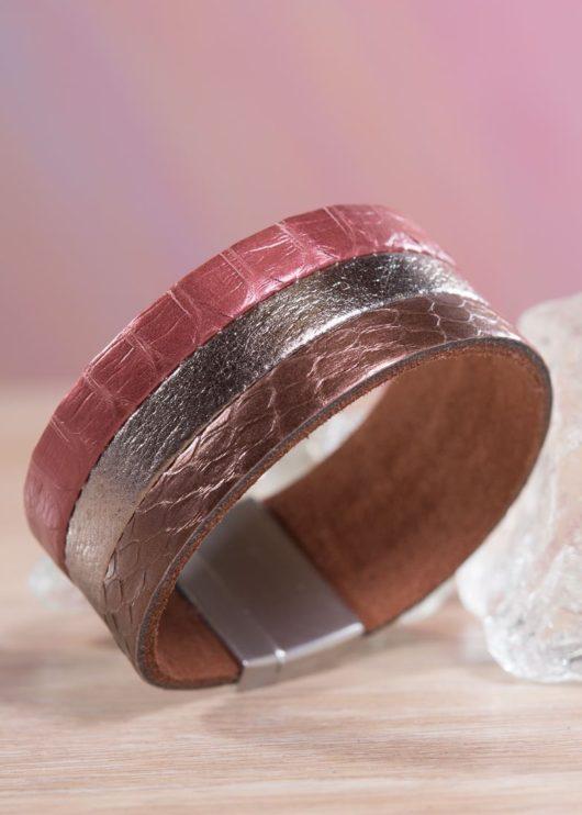 Leather 3-Strip Cuff Bracelet - Burgundy Bronze