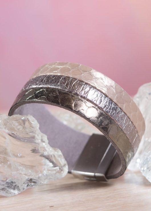 Leather 3-Strip Cuff Bracelet - Ivory Bronze