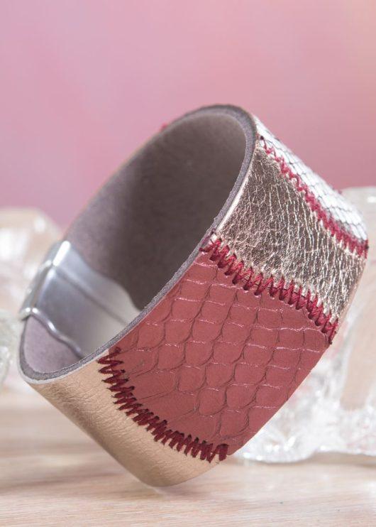 Leather Patchwork Cuff Bracelet - Burgundy Bronze