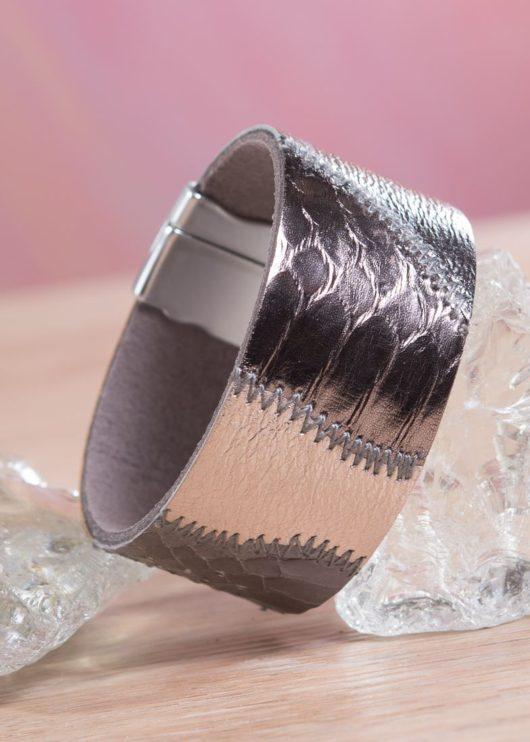 Leather Patchwork Cuff Bracelet - Cloudy Bronze