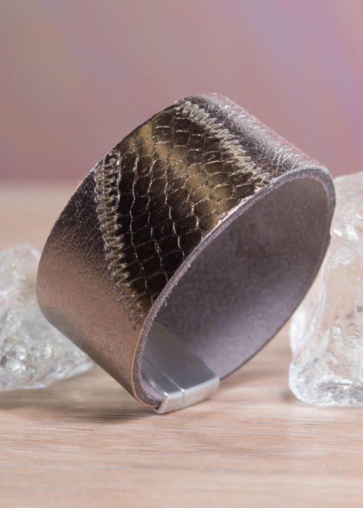 Leather Patchwork Cuff Bracelet - Gold Bronze