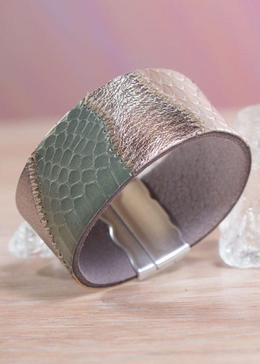 Leather Patchwork Cuff Bracelet - Green/Bronze