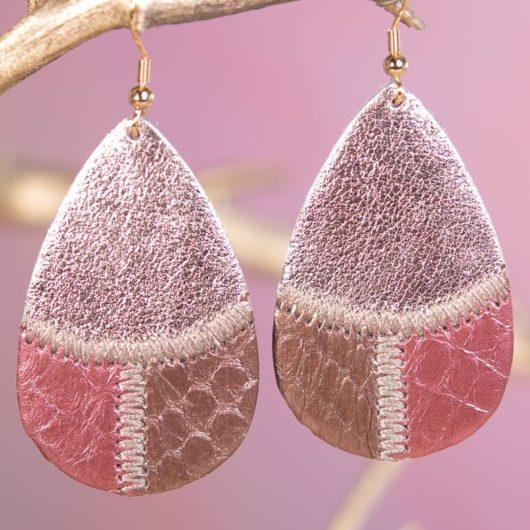 Leather Patchwork Teardrop Earring - Burgundy Bronze