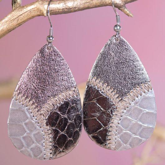 Leather Patchwork Teardrop Earring - Cloudy Bronze