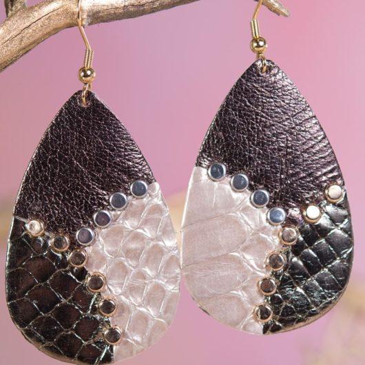 Leather Studded Teardrop Earring - Bronze Gold