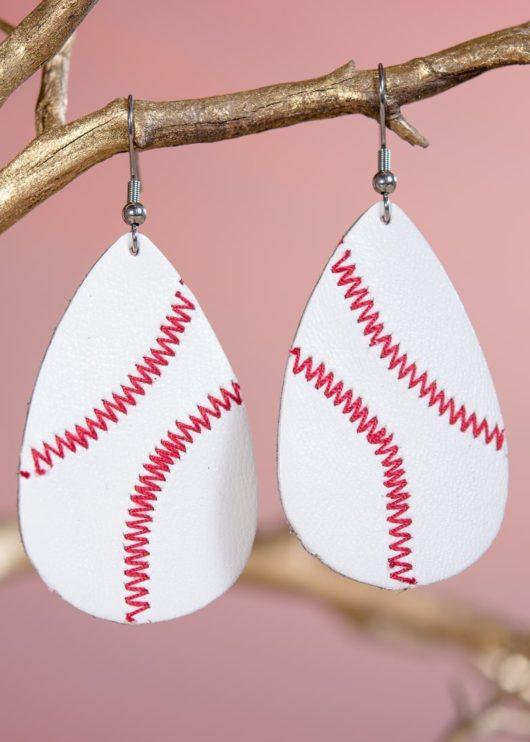 Leather Teardrop Earring - Baseball