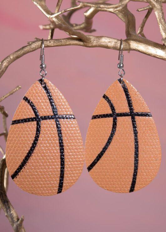 Leather Teardrop Earring - Basketball