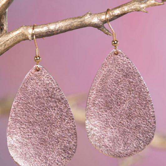 Leather Teardrop Earring - Rose Gold