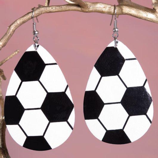 Leather Teardrop Earring - Soccer Ball