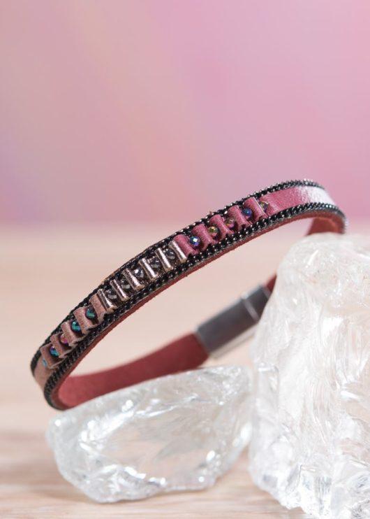 Thin Leather Cuff Bracelet - Berry Pucker