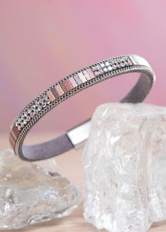Thin Leather Cuff Bracelet - Blush Crystal