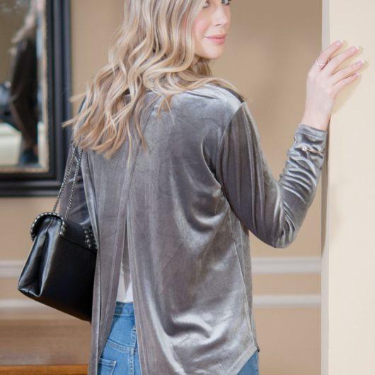 Open Back Velvet - Gray