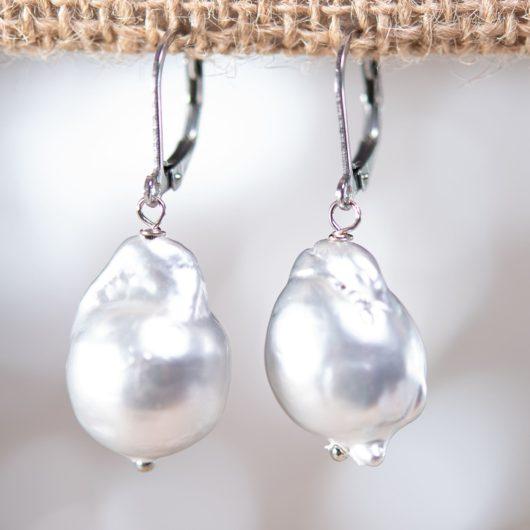 Baroque Pearl Drop Earrings - SILVER