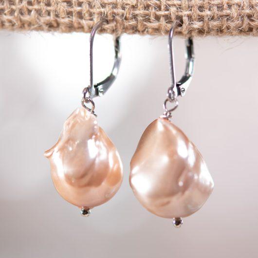 Baroque Pearl Drop Earrings - CHAMPAGNE