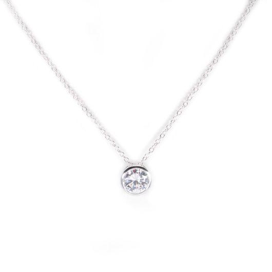 Bezel Set Necklace - Silver
