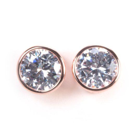 Bezel Set Stud Earrings - Rosegold