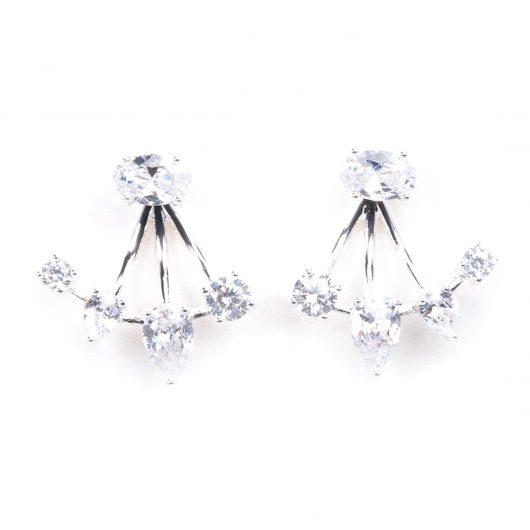 Stud Earrings with Ear Enhancer - Silver