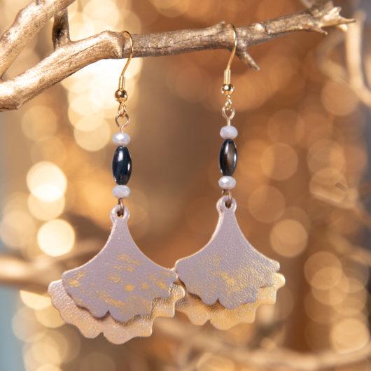 Ginko Leaf Leather Earrings - Harbor