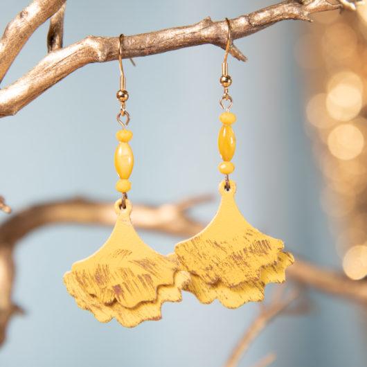 Ginko Leaf Leather Earrings - Goldenrod