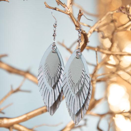 Three Leaf Leather Earrings - Harbor