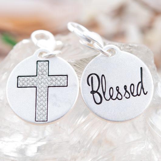 Silver 1-Tone Medallion - Crystal Cross