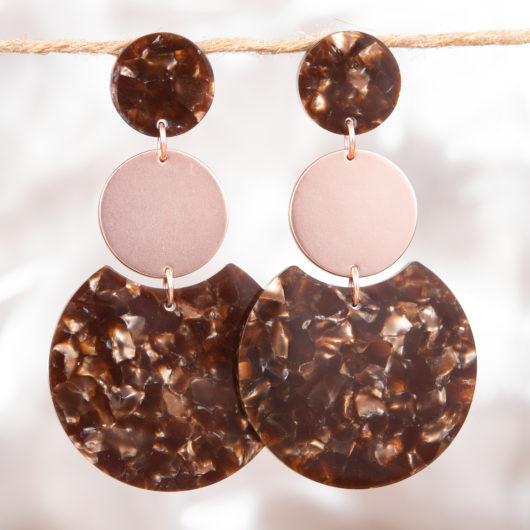 Triple Disc Earrings - Magenta Spots