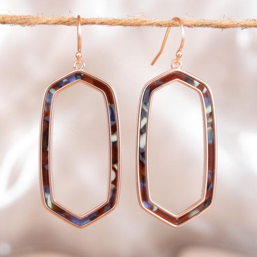 Hexagon Drop Earrings - Silver