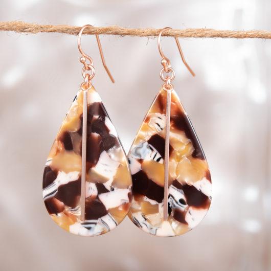 Bar Teardrop Earrings - Black Spots