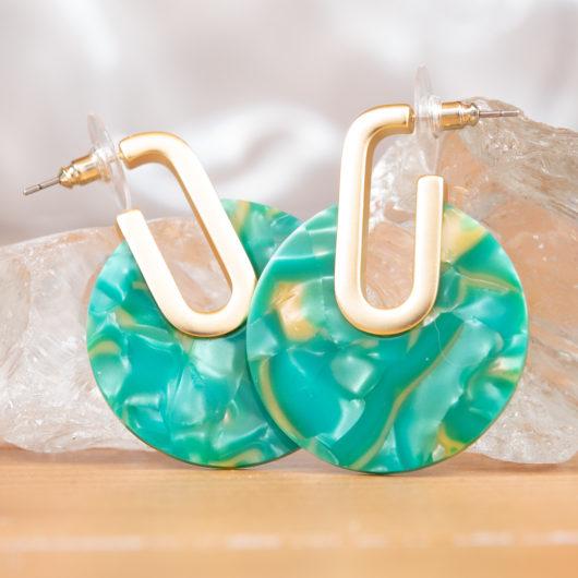 Side Disc Earrings - Blush