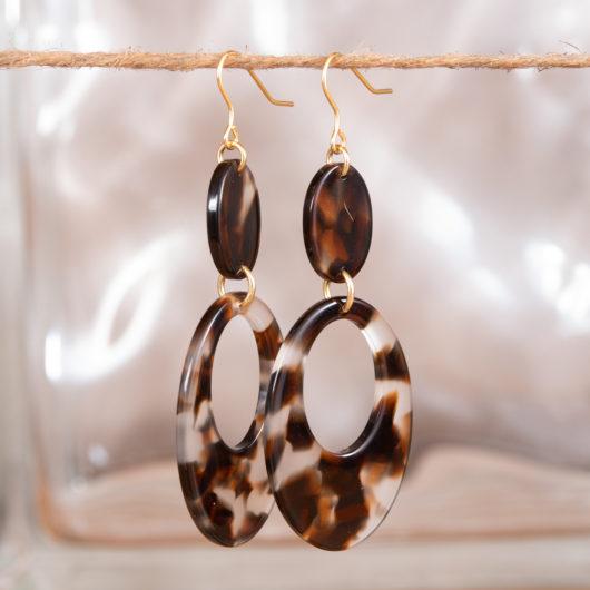 Open Oval Drop Earrings - Magenta Spots