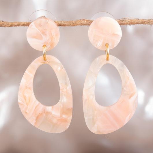 Open Oval Drop Earrings - Brown Multi