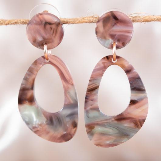Trapezoid Earrings - Rose Multi