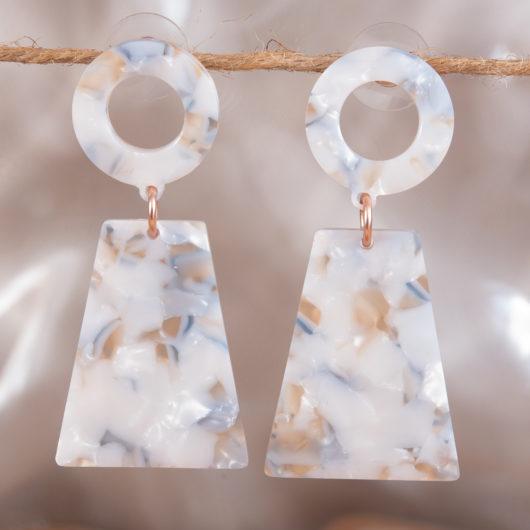 Small Hoop Drop Earrings - Ivory